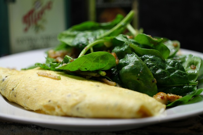 omlette and salad