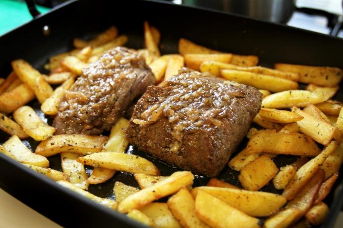 beef in pan