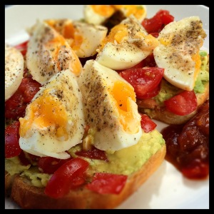 avo and tomato on toast with boiled eggs_SQUARE